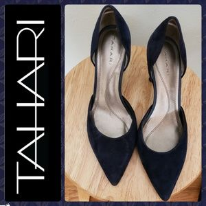 Tahari navy suede pumps